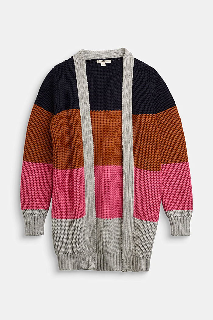 Striped cardigan made of blended cotton