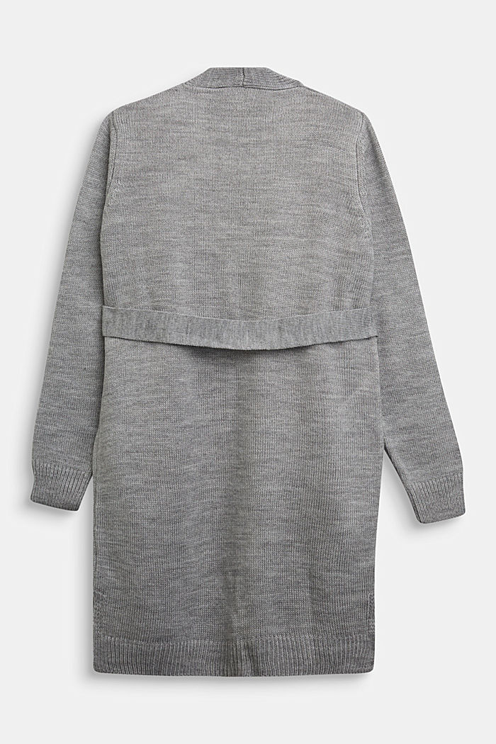 Strick-Cardigan mit Bindegurt, MEDIUM GREY, detail image number 1