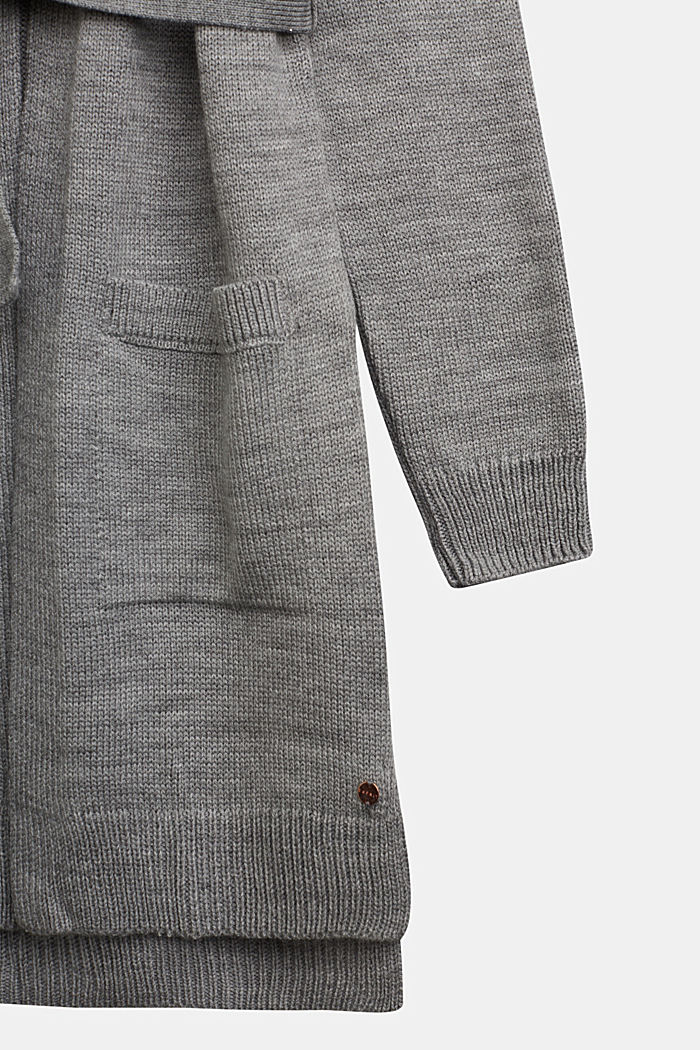 Strick-Cardigan mit Bindegurt, MEDIUM GREY, detail image number 2