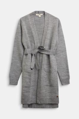Knit cardigan with a tie-around belt, MEDIUM GREY, detail
