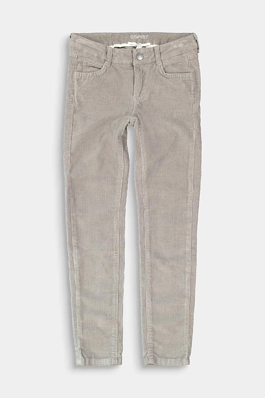 Cord trousers with an adjustable waistband