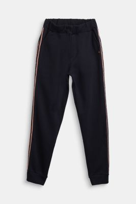 Sweatshirt fabric trousers with glittering stripes, NAVY, detail