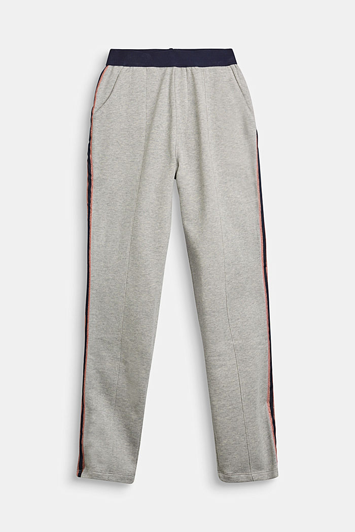 Sweatshirt fabric trousers with glittering stripes