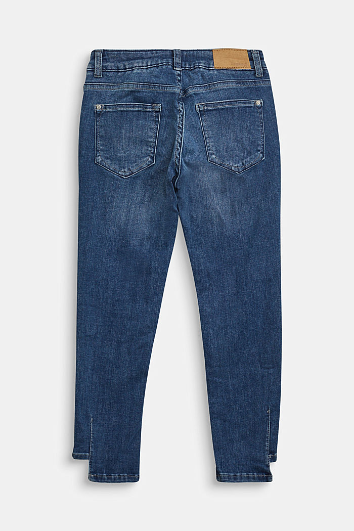 Jeans with an adjustable waistband and a casual hem, BLUE DARK WASHED, detail image number 1