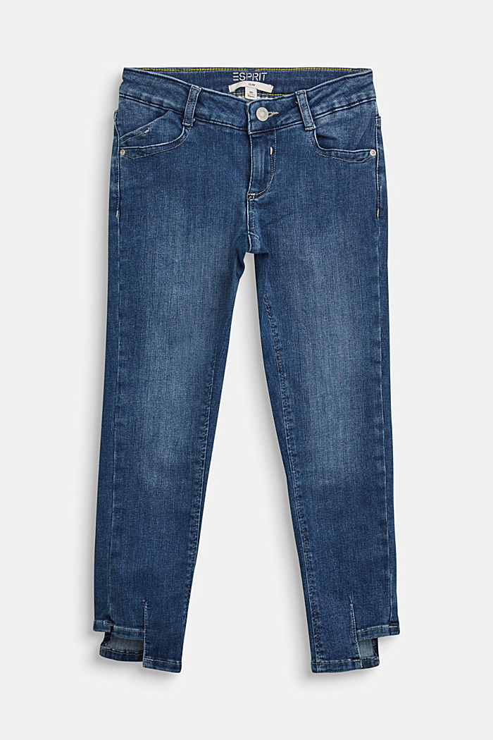 Jeans with an adjustable waistband and a casual hem, BLUE DARK WASHED, detail image number 0