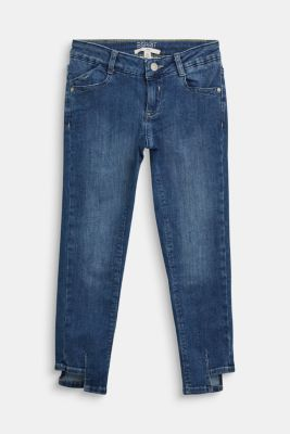 Jeans with an adjustable waistband and a casual hem, BLUE DARK WASHED, detail
