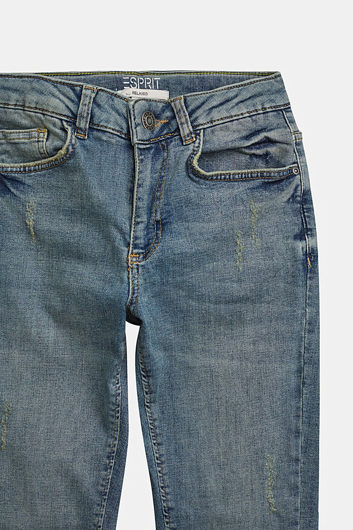 Jeans in a vintage look with an adjustable waistband, BLUE MEDIUM WASHED, detail image number 2