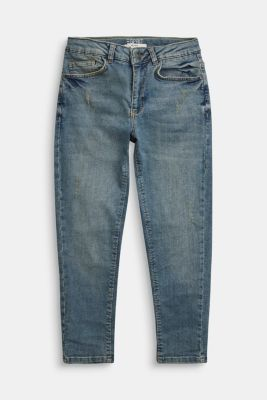 Jeans in a vintage look with an adjustable waistband, BLUE MEDIUM WASHED, detail