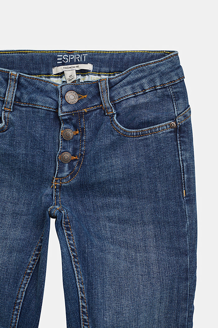 Jeans with a button fly and adjustable waistband, BLUE MEDIUM WASHED, detail image number 2