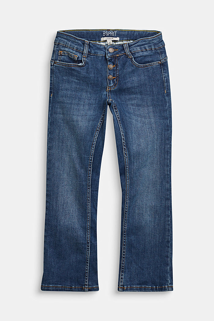 Jeans with a button fly and adjustable waistband, BLUE MEDIUM WASHED, detail image number 0