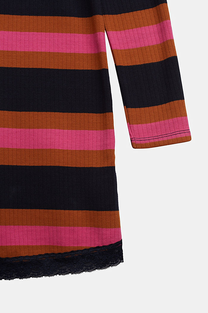 Striped ribbed dress, 100% cotton, NAVY, detail image number 2