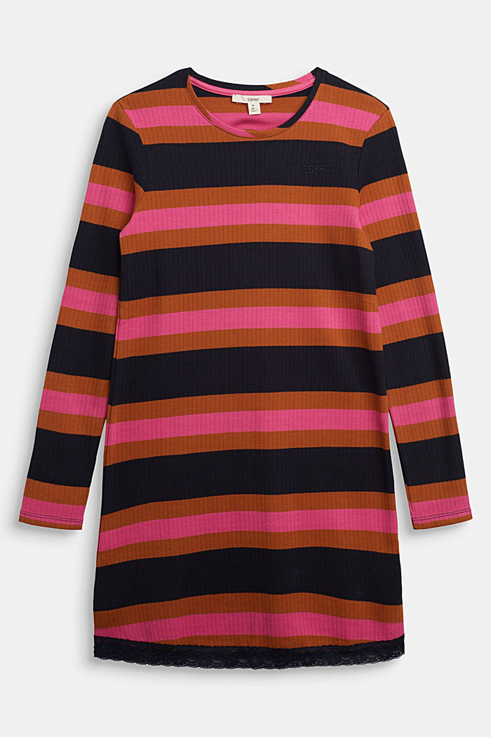 Striped ribbed dress, 100% cotton