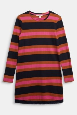 Striped ribbed dress, 100% cotton, NAVY, detail