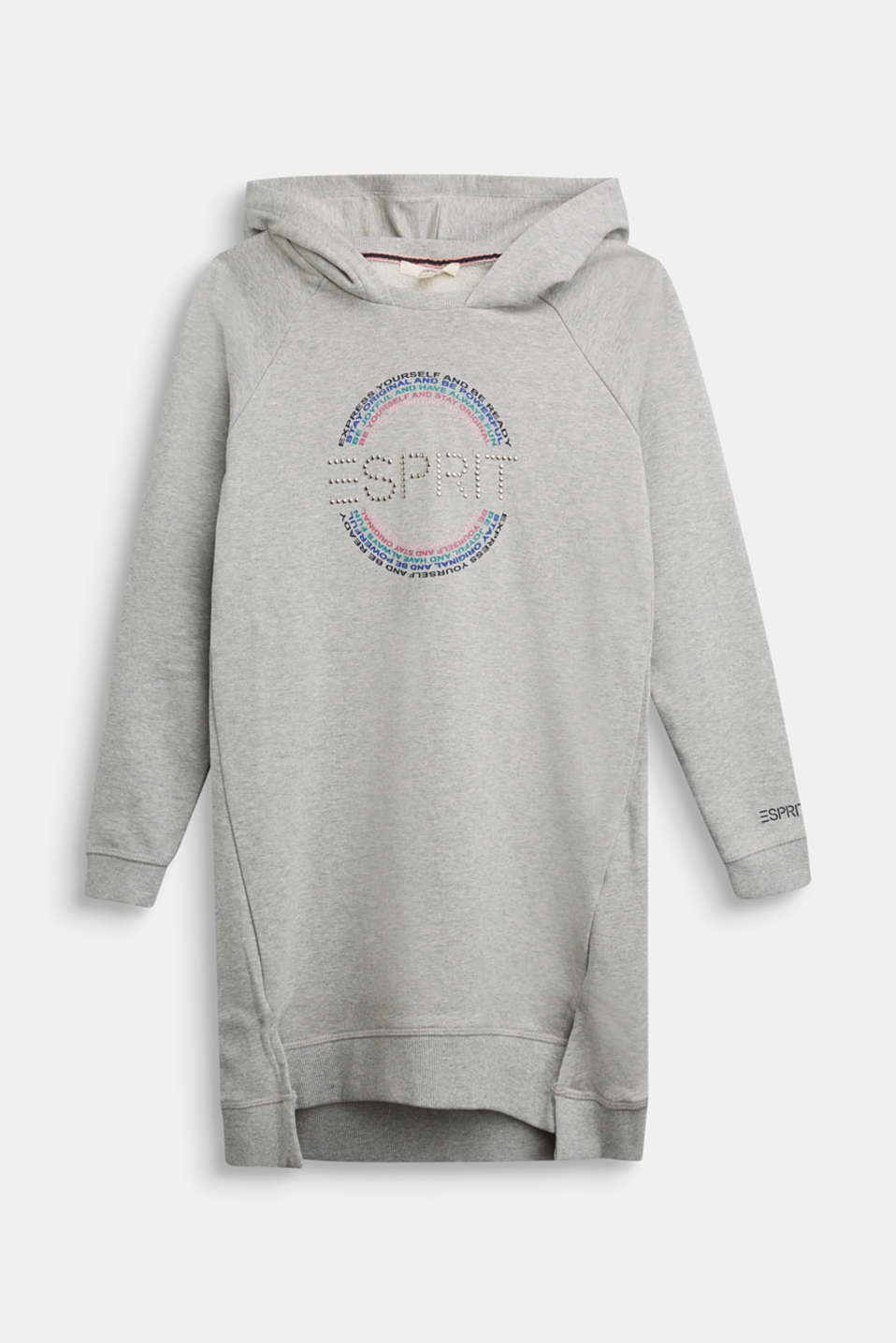 Esprit - Hoodie dress with a print, 100% cotton