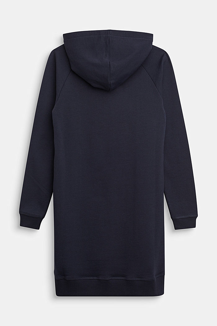 Hoodie dress with a print, 100% cotton, NAVY, detail image number 1