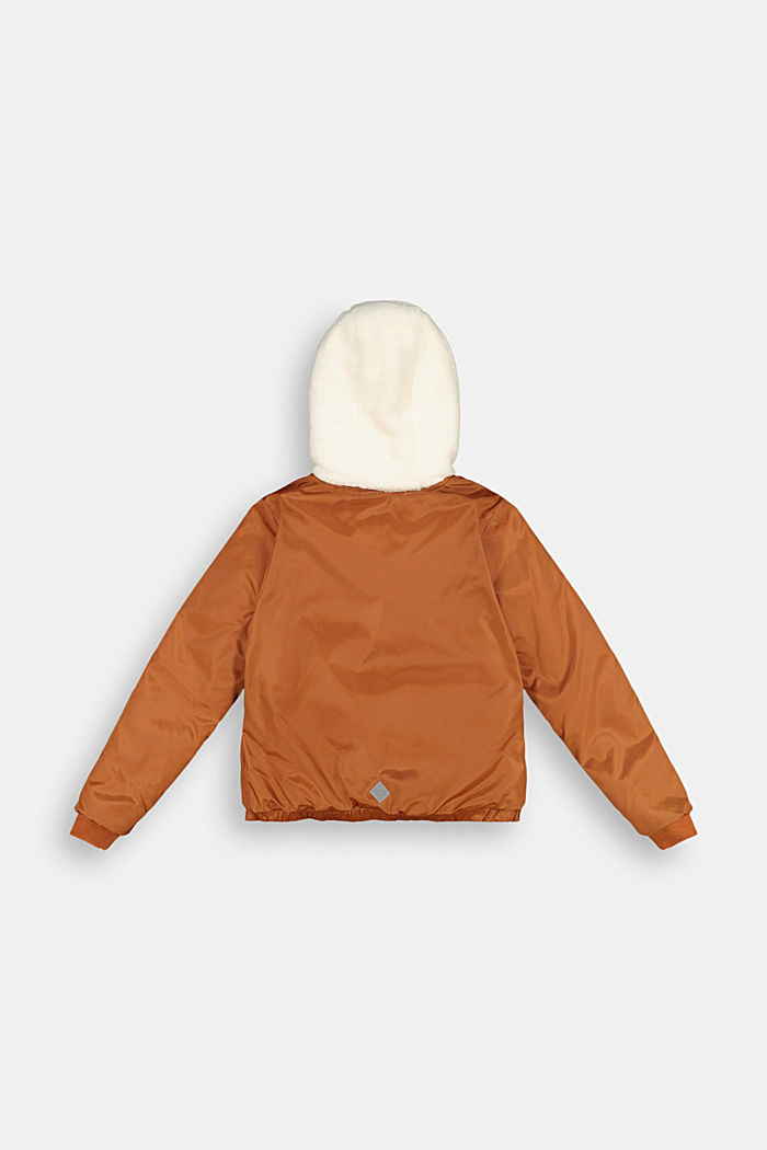 Bomber jacket with a hood and teddy fur lining, RUST BROWN, detail image number 1