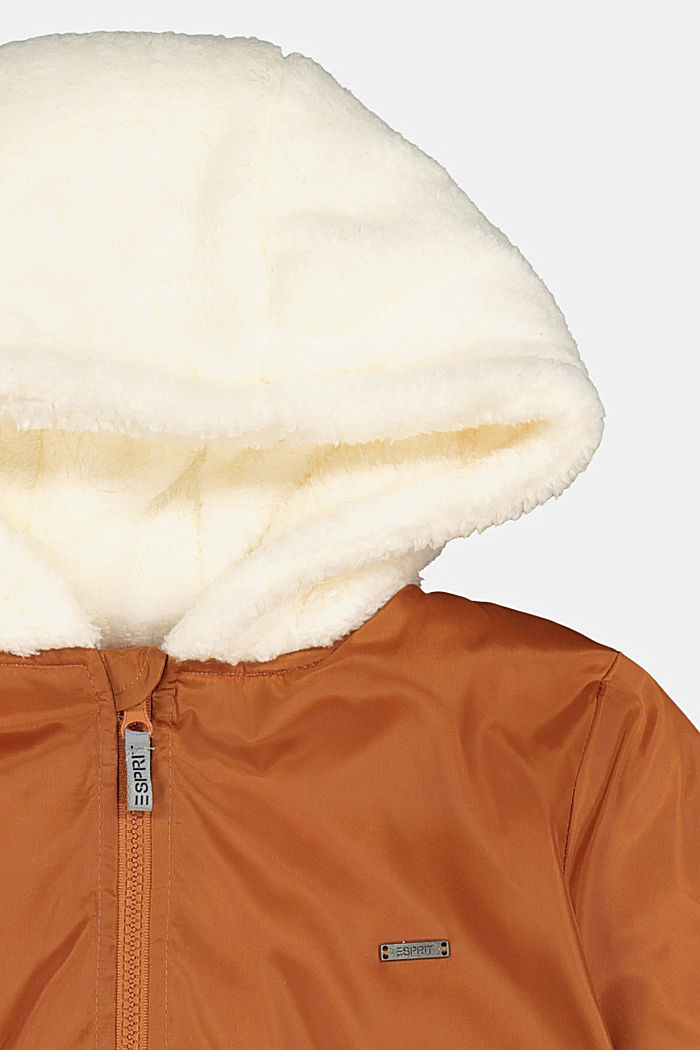 Bomber jacket with a hood and teddy fur lining, RUST BROWN, detail image number 2