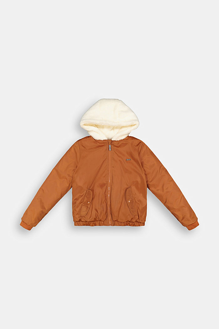 Bomber jacket with a hood and teddy fur lining