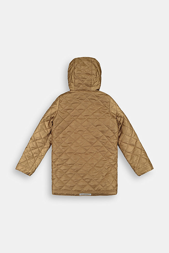 Quilted coat with a hood and reflective details
