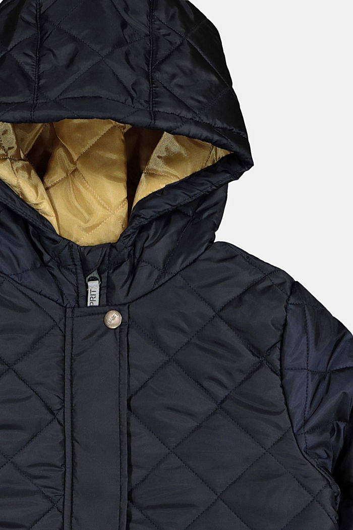 Quilted coat with a hood and reflective details, NAVY, detail image number 2