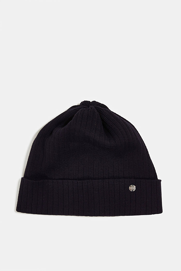 Ribbed knit beanie in 100% cotton, NAVY, overview