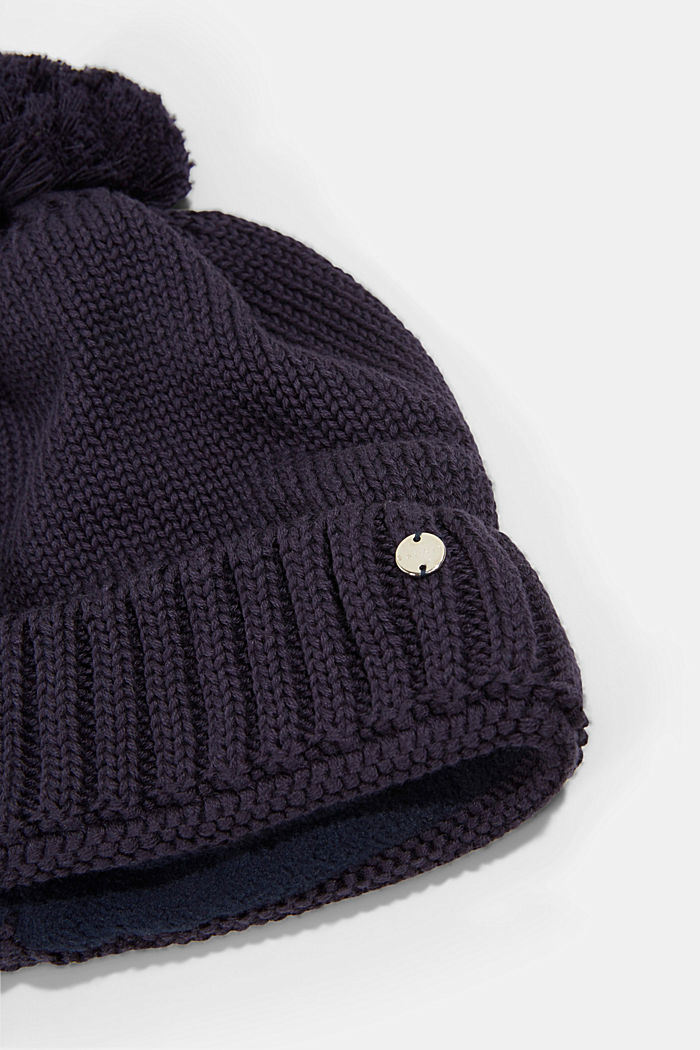 Knitted hat with a pompom, NAVY, detail image number 1