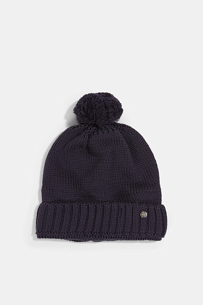 Knitted hat with a pompom, NAVY, detail image number 2