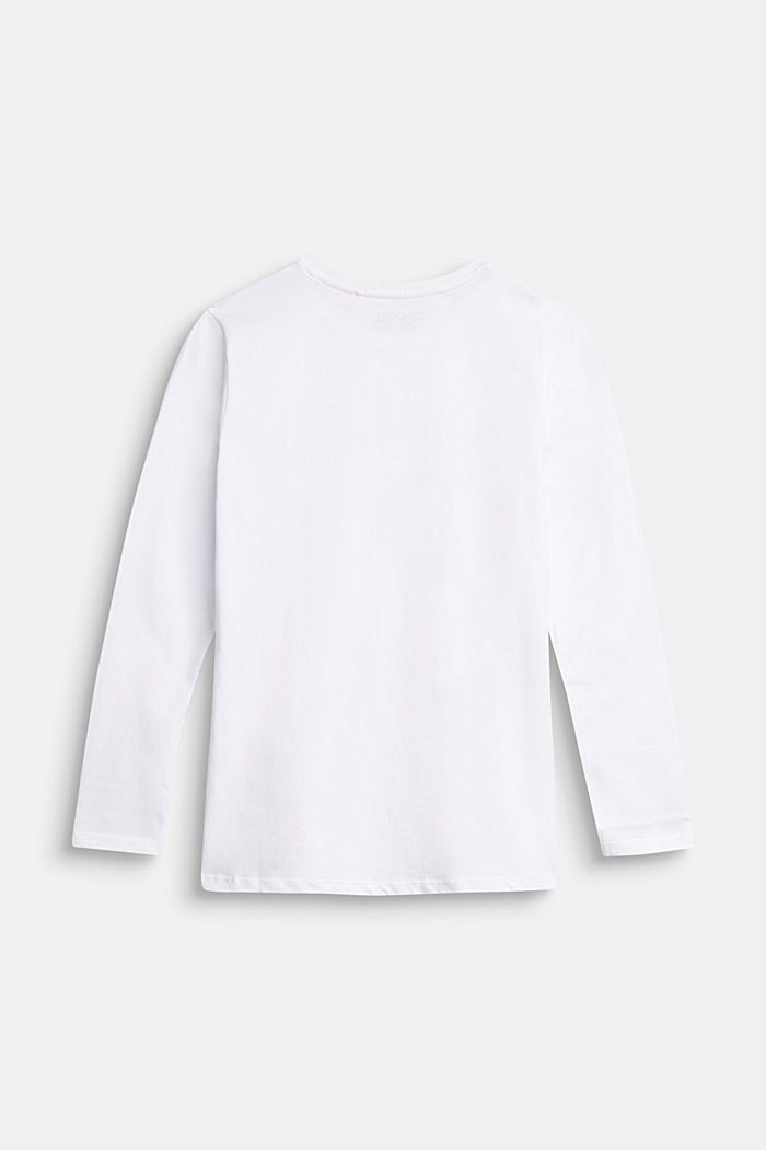 Long sleeve top with logo print, 100% cotton, WHITE, detail image number 1