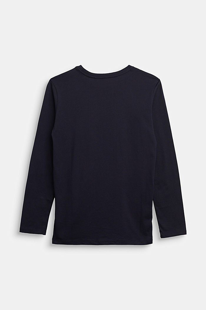 Long sleeve top with logo print, 100% cotton, NAVY, detail image number 1