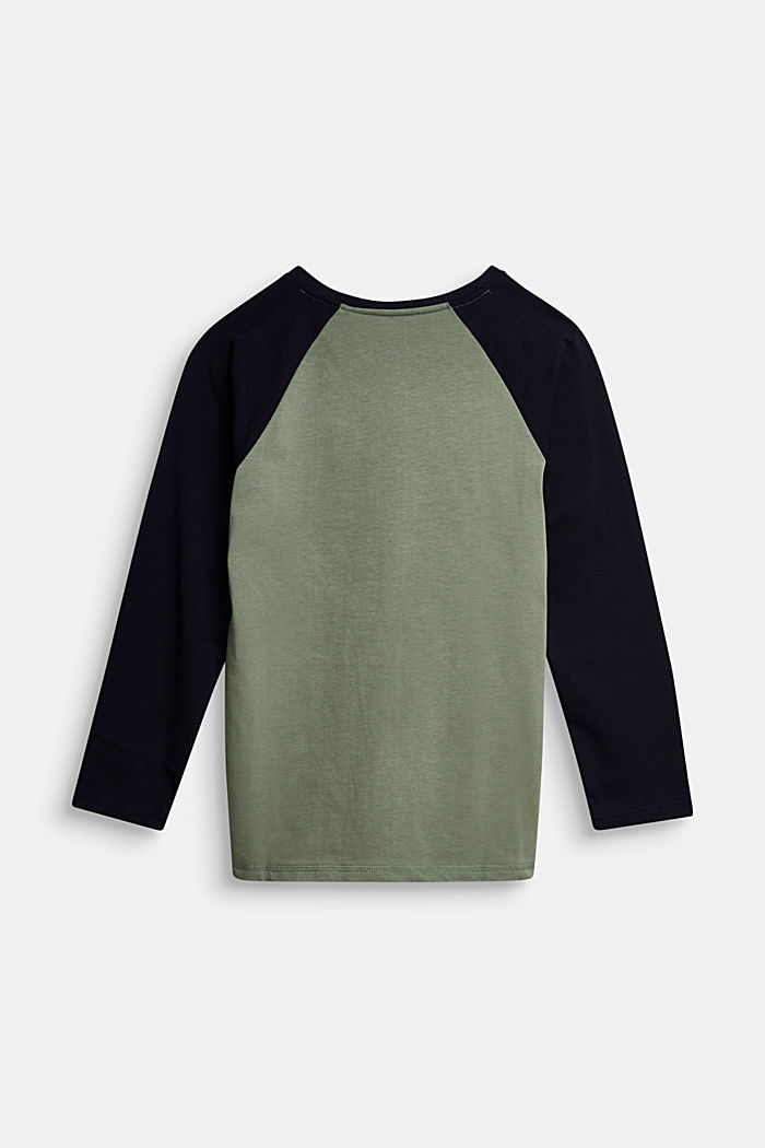 College long sleeve top, 100% cotton, DUSTY GREEN, detail image number 1