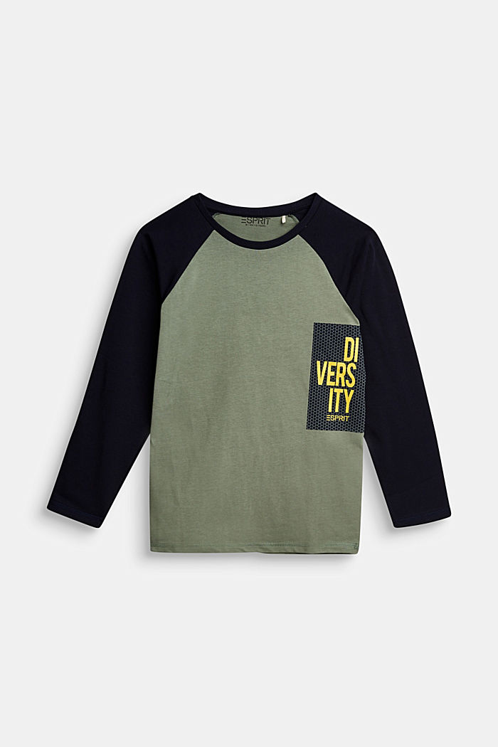 College long sleeve top, 100% cotton, DUSTY GREEN, detail image number 0