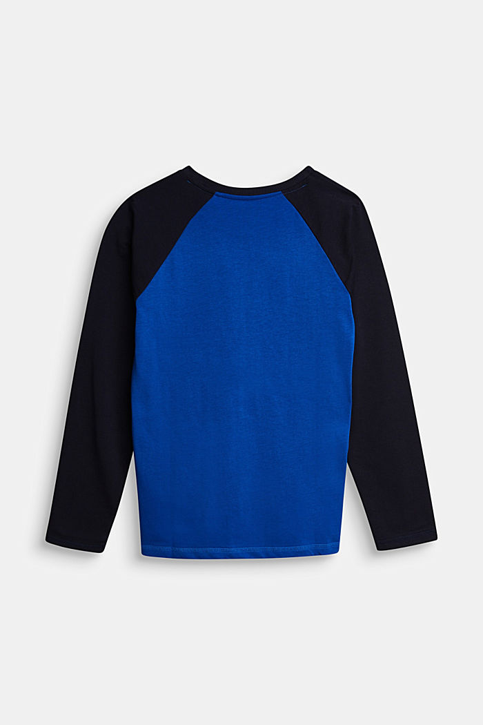 College long sleeve top, 100% cotton, BRIGHT BLUE, detail image number 1
