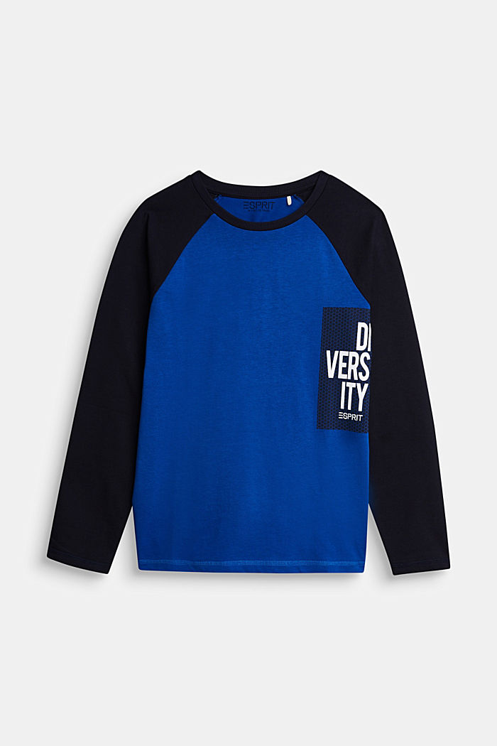 College long sleeve top, 100% cotton, BRIGHT BLUE, detail image number 0