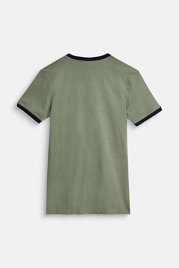 T-shirt with a logo print in 100% cotton, DUSTY GREEN, detail image number 1