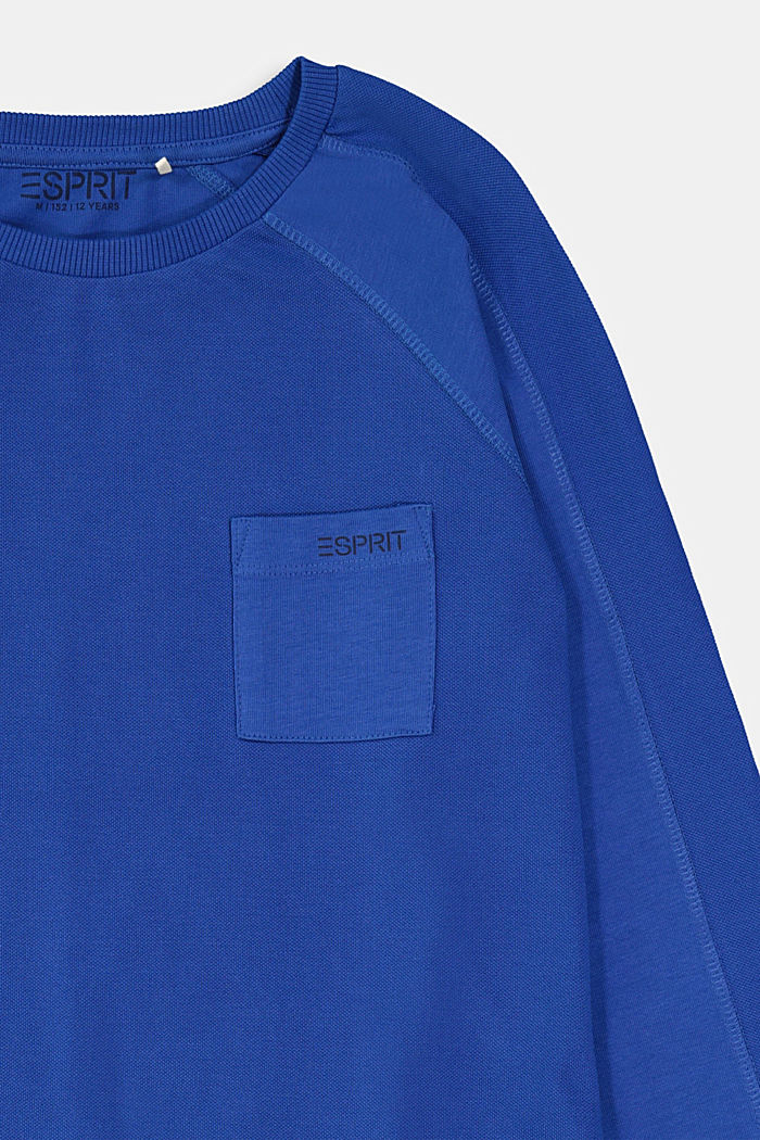 Statement long sleeve top made of 100% cotton, BRIGHT BLUE, detail image number 2