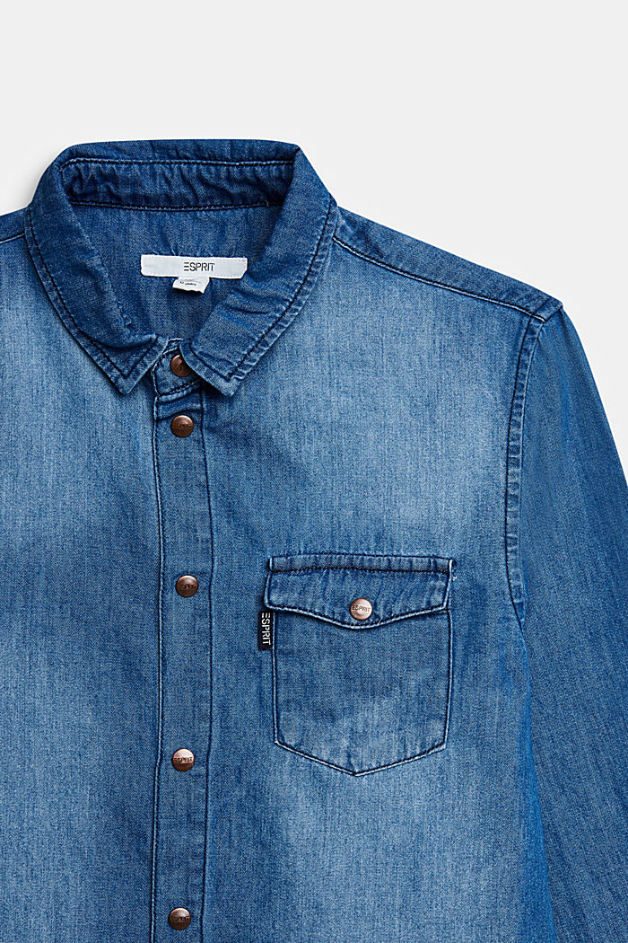 Denim shirt made of cotton/lyocell, BLUE LIGHT WASHED, detail image number 2