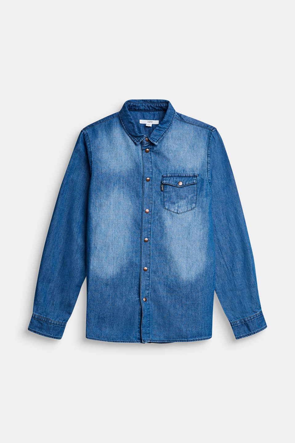 Esprit - Denim shirt made of cotton/lyocell