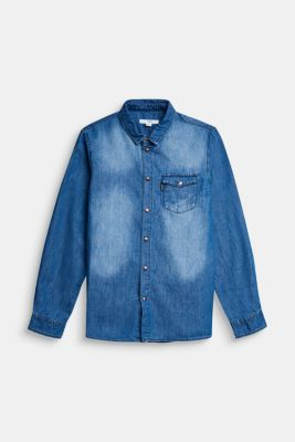 Denim shirt made of cotton/lyocell, BLUE LIGHT WASHED, detail
