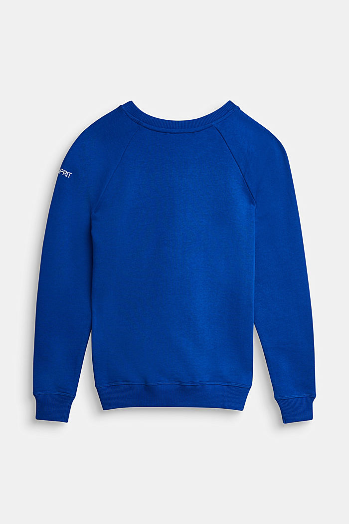 Basic sweatshirt made of 100% cotton, BRIGHT BLUE, detail image number 1