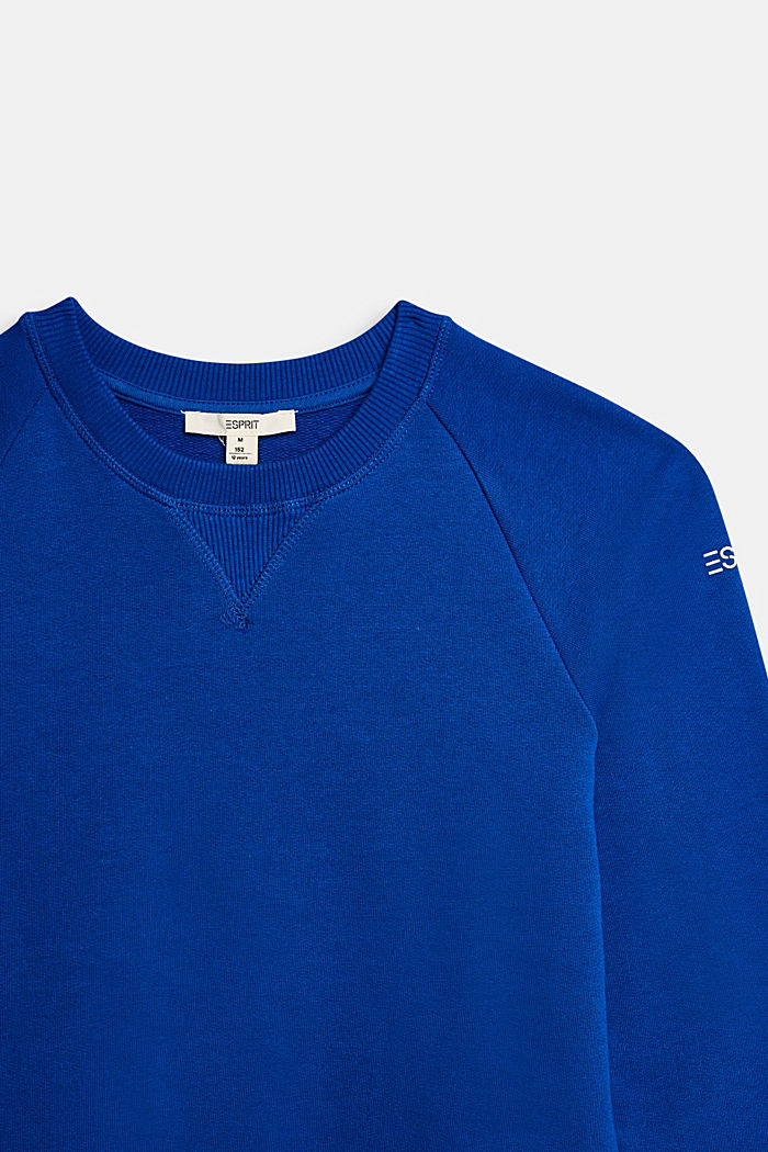 Basic sweatshirt made of 100% cotton, BRIGHT BLUE, detail image number 2