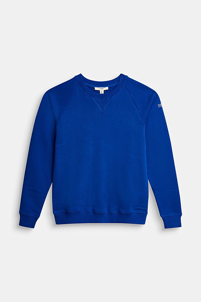 Basic sweatshirt made of 100% cotton, BRIGHT BLUE, detail image number 0