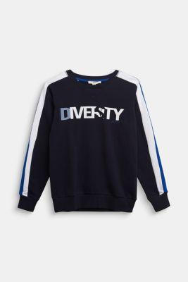Sweatshirt in 100% cotton, NAVY, detail