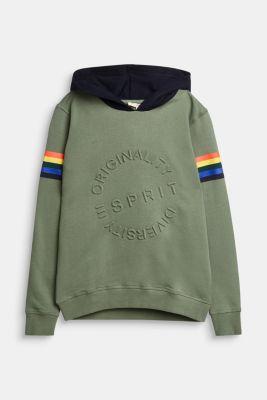 Sweatshirt hoodie with an embossed print, 100% cotton, DUSTY GREEN, detail