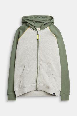 Sweatshirt cardigan with print, 100% cotton, MEDIUM GREY, detail