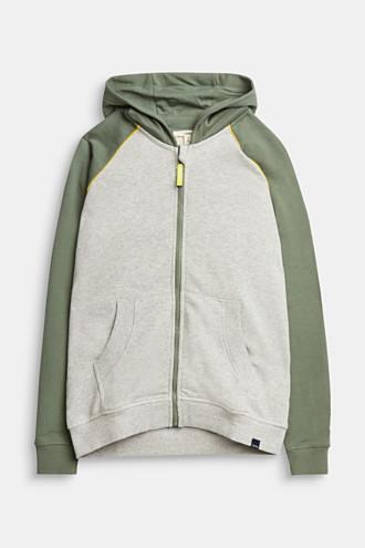Sweatshirt cardigan with print, 100% cotton