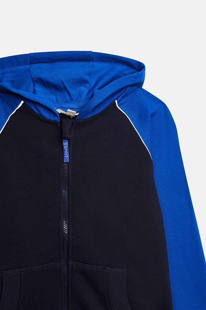 Sweatshirt cardigan with print, 100% cotton, NAVY, detail image number 2