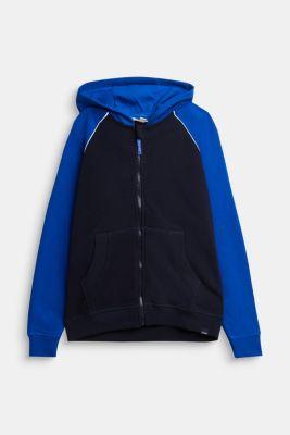 Sweatshirt cardigan with print, 100% cotton, NAVY, detail