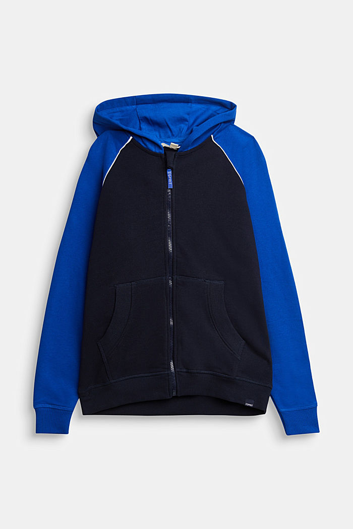 Sweatshirt cardigan with print, 100% cotton, NAVY, detail image number 0