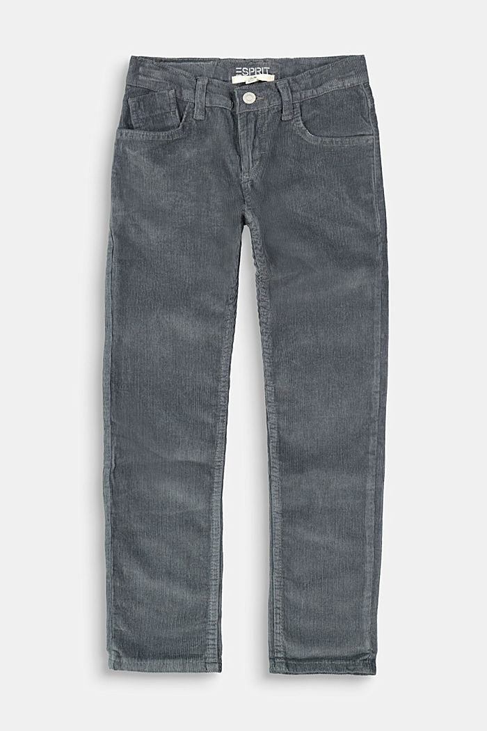 Cord trousers with an adjustable waistband, GREY, detail image number 0