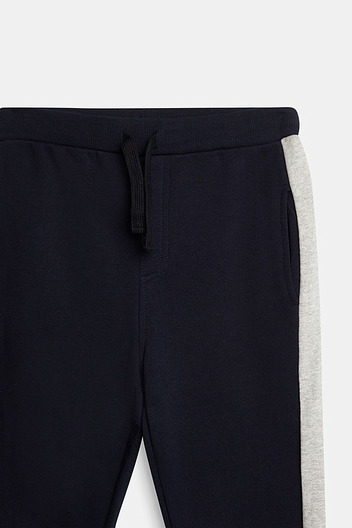 Tracksuit bottoms with stripes, 100% cotton, NAVY, detail image number 2